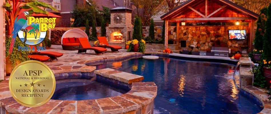 Swimming pool construction amid yard slopes for Custom home builders central arkansas