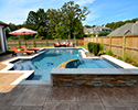 Geometric Gunite Swimming Pool With Spa | North Little Rock