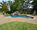 Freeform Custom Swimming Pool With Slide by Conway Pool Builders