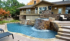 Custom pool with waterfall