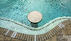 Custom pool with swim-up bar