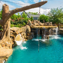Swimming pool tree swing