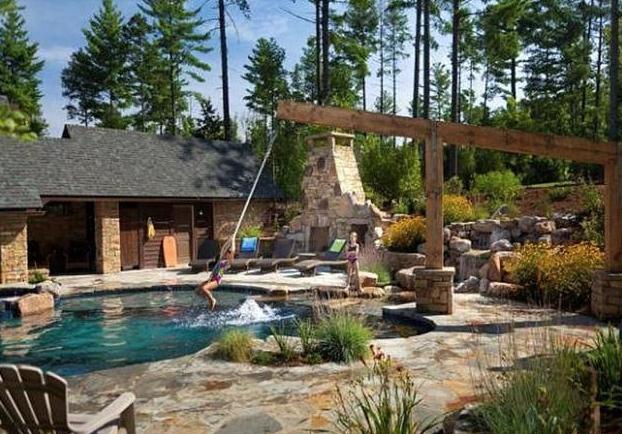 Swimming pool rope swing